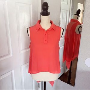 Tea & Cup collared blouse size small coral pink